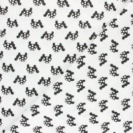Double cotton gauze fabric - mustard Têtes d'Animaux x 10cm