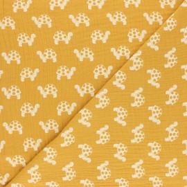 Tissu double gaze de coton Tortue - blanc x 10cm