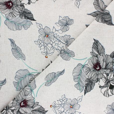 Tissu lin et viscose Mélodie Florale - naturel x 10cm