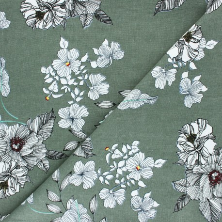 linen viscose canvas fabric Peonie Linosol by Penelope® - charcoal x 10cm