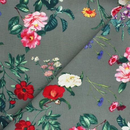 Tissu lin et viscose Mélodie Florale - vert kaki x 10cm