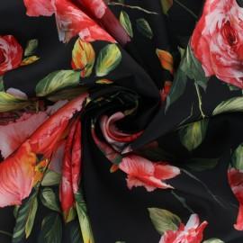Tissu satin polyester Amariscus - noir x 50cm