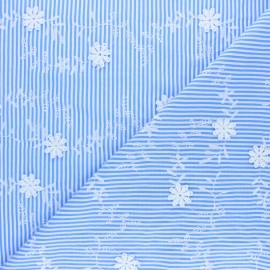 Embroidered Polyester fabric - blue Daisy x 10cm