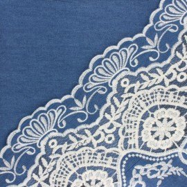 Scalloped embroidered Chambray cotton fabric - blue Camille x 10 cm