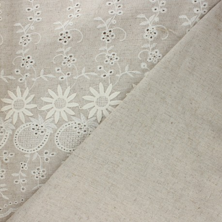 Scalloped embroidered linen and viscose fabric - white Marjolaine x 10 cm