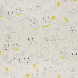 Kokka cotton canvas fabric - Cats with Collars raw x 10 cm