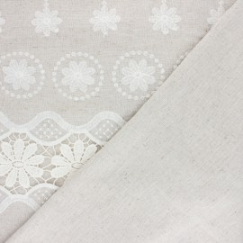 Scalloped embroidered linen and viscose fabric - natural Rosemarie x 10 cm