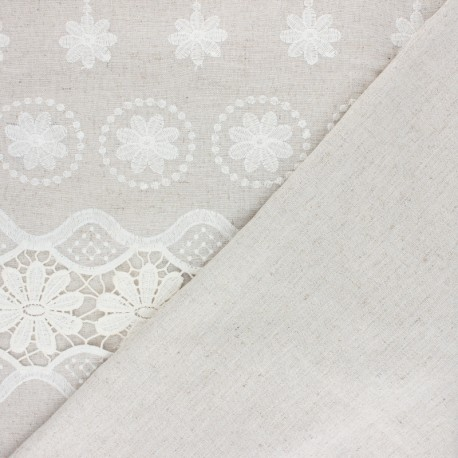 Scalloped embroidered linen and viscose fabric - natural Marjolaine x 10 cm