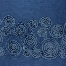 Tissu coton chambray brodé Lucky - bleu x 10 cm