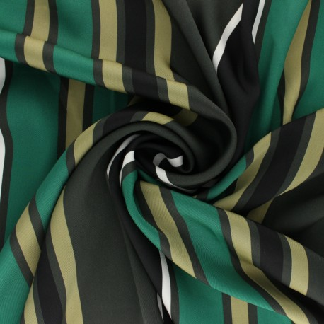Polyester satin fabric - Green Caramila x 50cm