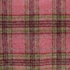 Checked virgin Wool fabric - Pink Umbridge  x 10cm