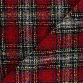 Checked virgin Wool fabric - Red Watson x 10cm