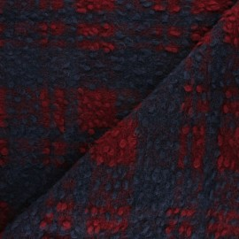 ♥ Coupon 110 cm X 150 cm ♥ Checked virgin Wool fabric - Blue Margaret