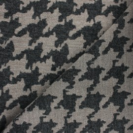 ♥ Coupon 100 cm X 140 cm ♥ Houndstooth Wool fabric - Beige Beth