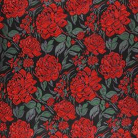 ♥ Coupon 190 cm X 150 cm ♥ Tissu Jacquard à fleurs Felicitie - noir