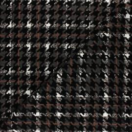 Tissu maille pied de poule floqué velours - noir x 10cm