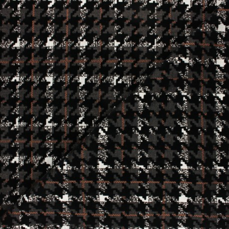 Knitted jersey fabric - black/beige check x 10cm