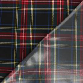 Tissu tartan écossais enduit spécial ciré - noir x 10cm