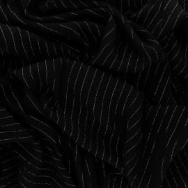 Tissu voile de viscose froissé lurex - noir x 10cm