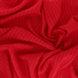 Lurex crinkle viscose voile Fabric - red x 10cm