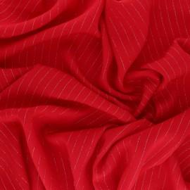 Tissu voile de viscose froissé lurex - rouge x 10cm