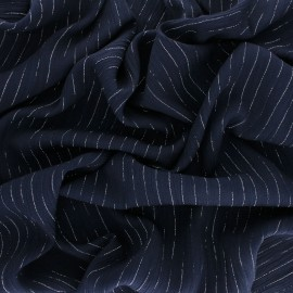 Lurex crinkle viscose voile Fabric - navy blue x 10cm