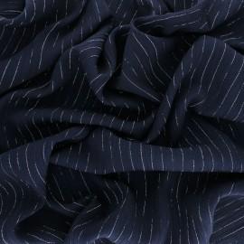 Tissu voile de viscose froissé lurex - bleu marine x 10cm
