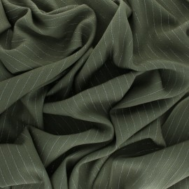 Lurex crinkle viscose voile Fabric - khaki green x 10cm