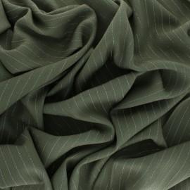 Tissu voile de viscose froissé lurex - vert kaki x 10cm