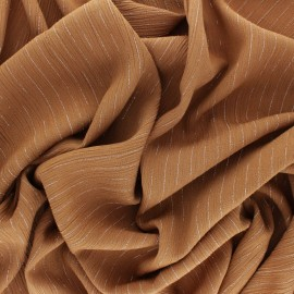 Lurex crinkle viscose voile Fabric - tobacco brown x 10cm