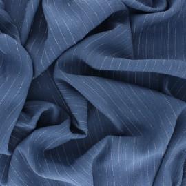 Lurex crinkle viscose voile Fabric - blue x 10cm