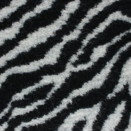 Zebba Woolen jersey fabric - black and white x 10 cm