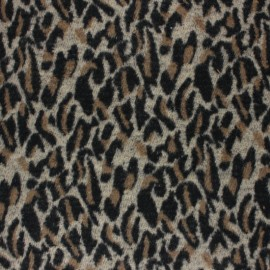 Leolap Woolen jersey fabric - brown x 10 cm