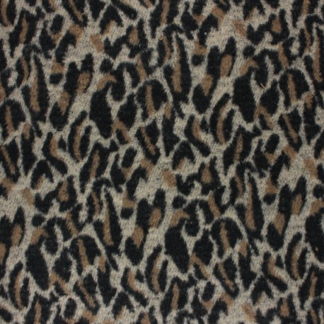 Leolap Woolen jersey fabric - brown x 10 cm