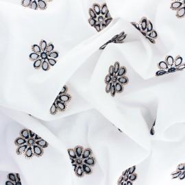 Tissu voile de coton brodé et sequin Granada - blanc x 10cm