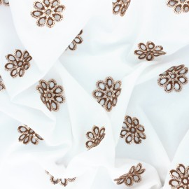 Tissu voile de coton brodé et sequin Granada - blanc/brun x 10cm