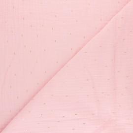 Tissu double gaze de coton Pluie dorée - rose pastel x 10cm