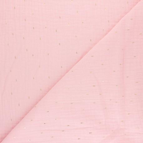Patterned Double gauze fabric -light green Pluie dorée x 10cm