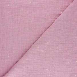 Patterned Double gauze fabric - light pink Pluie dorée x 10cm