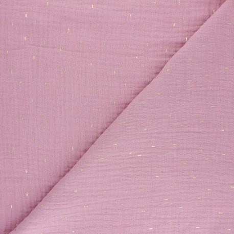 Tissu double gaze de coton Pluie dorée - Bois de rose x 10cm