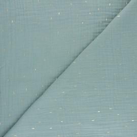 Tissu double gaze de coton Pluie dorée - vert d'eau x 10cm