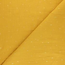 Patterned Double gauze fabric - mustard yellow Pluie dorée x 10cm