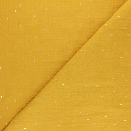Patterned Double gauze fabric -eucalyptus green Pluie dorée x 10cm
