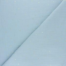 Tissu double gaze de coton Pluie dorée - jaune moutarde x 10cm