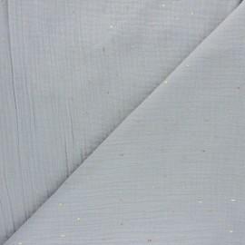Tissu double gaze de coton Pluie dorée - bleu ciel x 10cm