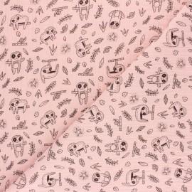 Tissu double gaze de coton Poppy Printemps - rose x 10cm