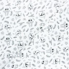Poppy Double gauze cotton fabric - pink sloth x 10cm