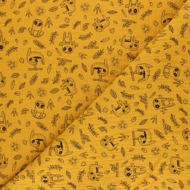 Poppy Double gauze cotton fabric - white sloth x 10cm
