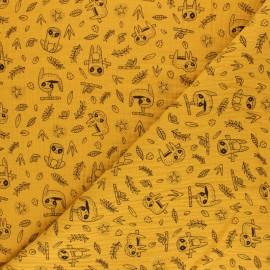 Tissu double gaze de coton Poppy Paresseux - blanc x 10cm