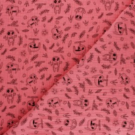 Poppy Double gauze cotton fabric - mustard sloth x 10cm